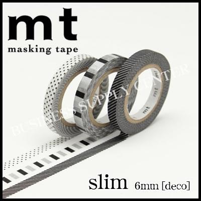 【メール便可能】カモ井 マスキングテープ mt slim deco(mt slim deco F)<6mm幅3巻セット> MTSLIM21
