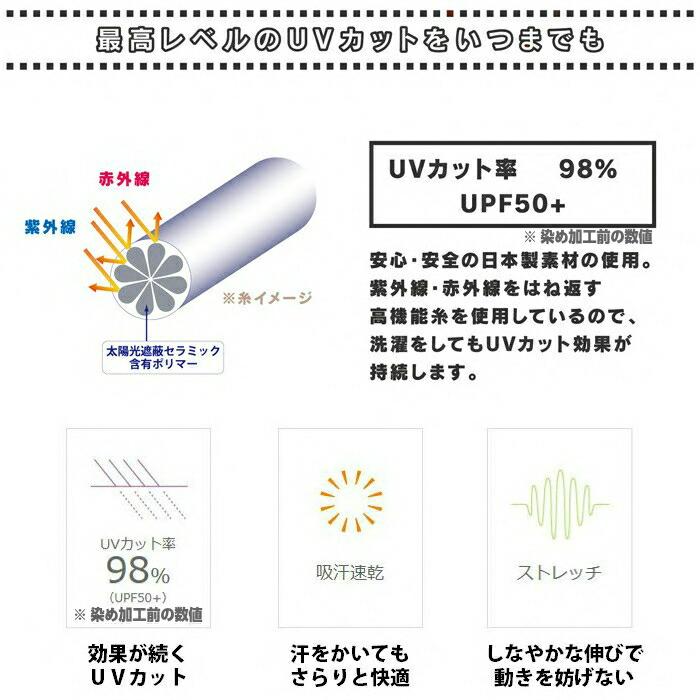 安心安全の日本素材の使用 紫外線・赤外線をはね返す senntaku をしてもUVカット効果が持続