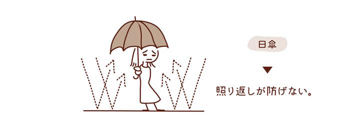 日傘は照り返しが防げない。