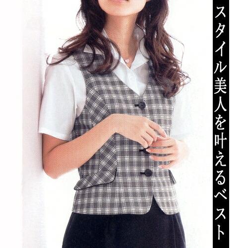 スタイル美人を叶えるグレーチェックのベスト/事務服・制服におすすめ!/FOLK/nuovo/FV35900-5