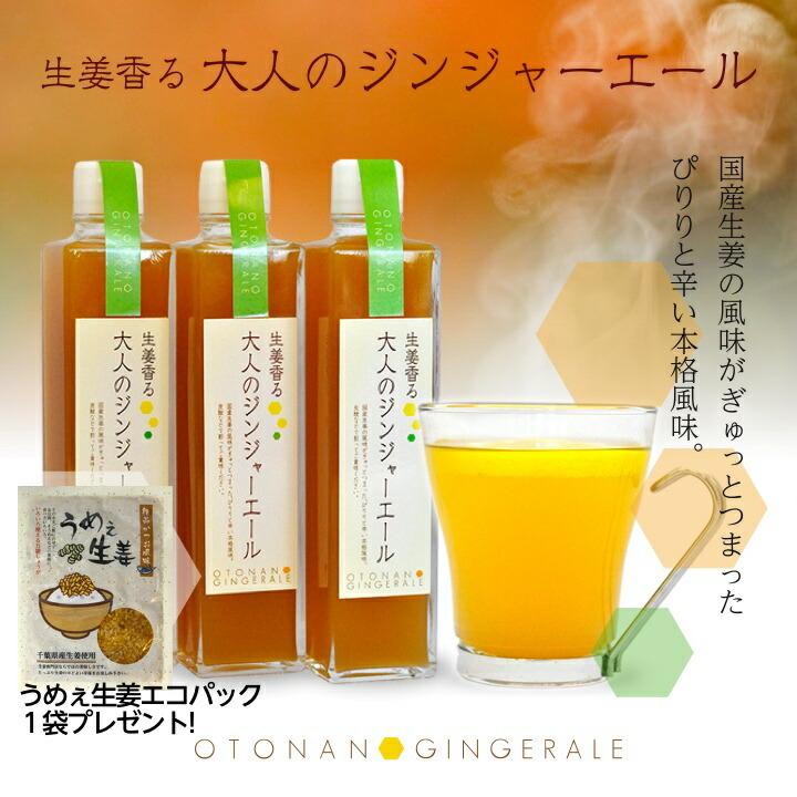 生姜香る大人のジンジャーエール国産生姜の風味がぎゅっとつまった、ぴりりと辛い本格風味。