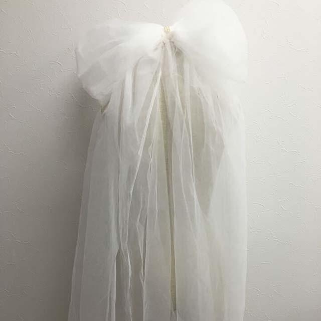 リボン ヘアアクセサリー 髪飾り チュール リボンモチーフ ビッグ ロング 長い 長め 大きめ コサージュ ヘアアレンジ イベント 花嫁 ブライダル小物  ドレス小物 可愛い
