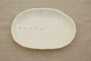 Table ware East  라쿠텐 일본: 물방울 무늬 타원 쟁반 흰색 (도트 ...