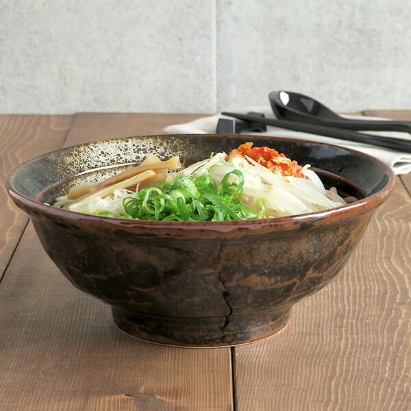 油滴結晶 石目 6.8寸ラーメン丼