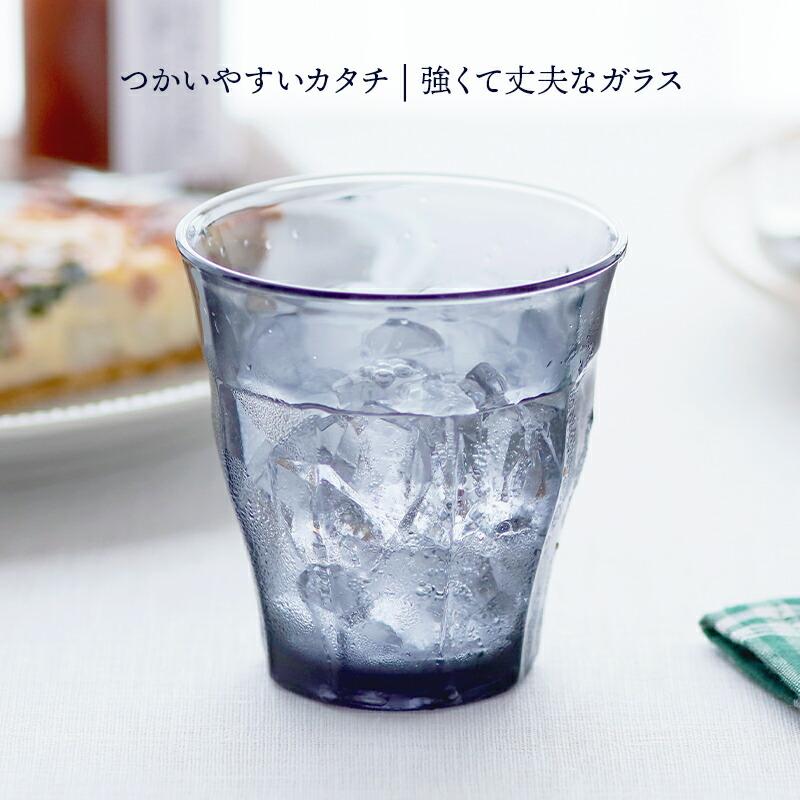 食卓をワンランクアップしてくれる、クリアでグレーのカップです