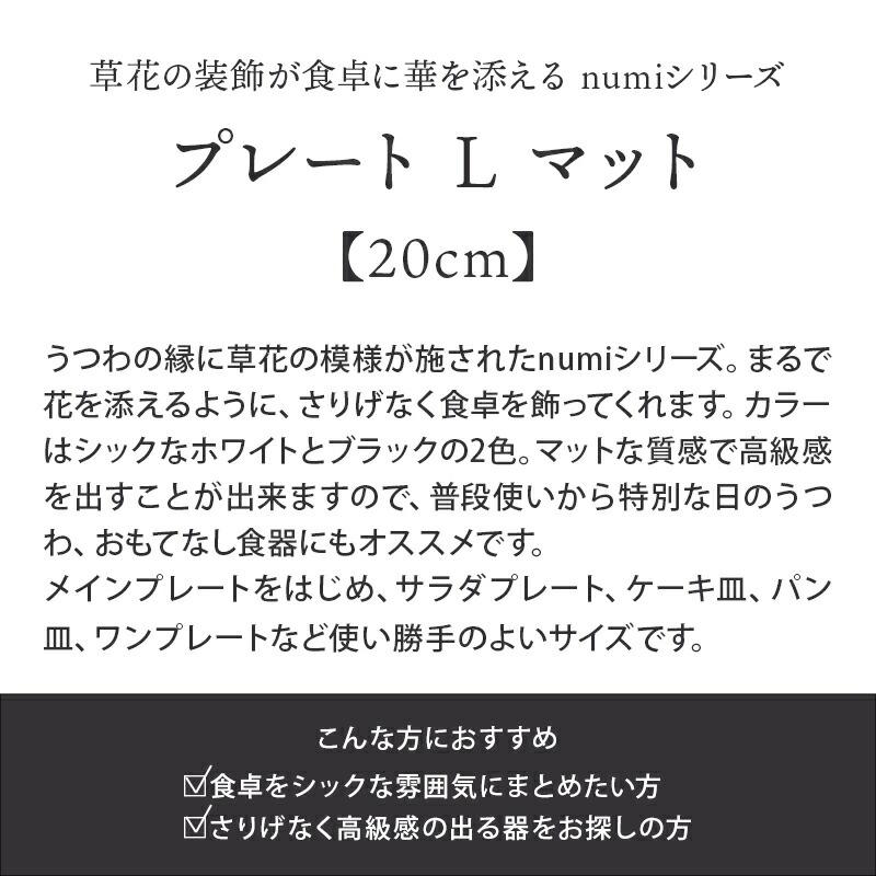 プレート L 20cm マット numi やちむん