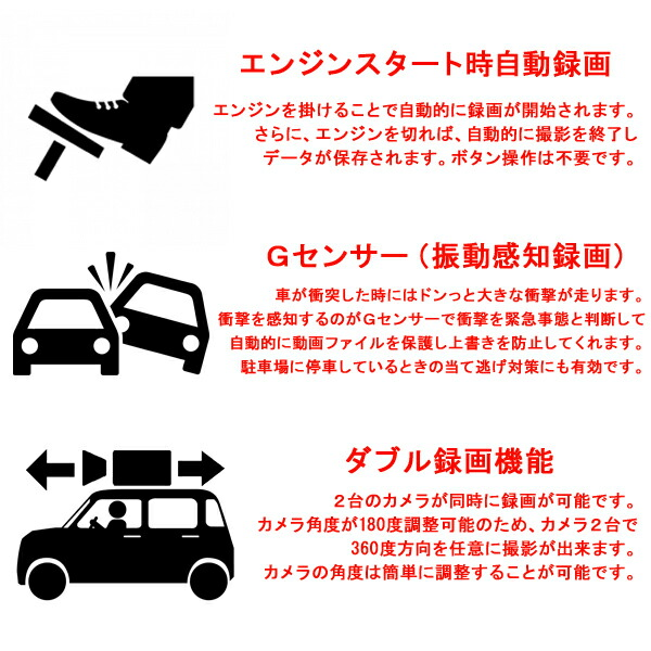 ドライブレコーダー/ドラレコ/2カメラ/前後