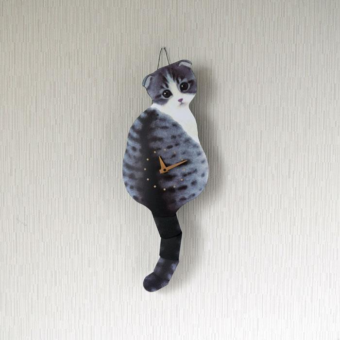 たち吉セレクト 藤井 啓太郎 猫時計 子猫 スコティッシュフォールド
