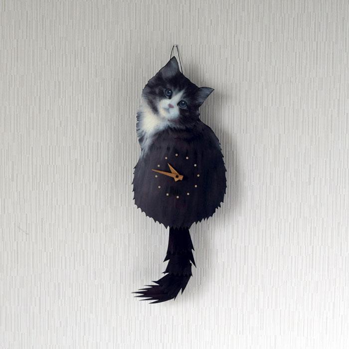 たち吉セレクト 藤井 啓太郎 猫時計 子猫 ノルウェージャンフォレストキャット