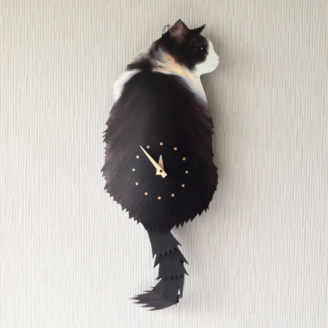 たち吉セレクト 藤井 啓太郎 猫時計 ノルウェージャンフォレストキャット