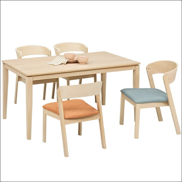 ダイニングテーブルセット 5点セット 食卓テーブルセット 4人用 4人掛け ダイニング5点セット 北欧 モダン ビーチ無垢 ビーチ突板 木製 ファブリック ナチュラル 長方形テーブル