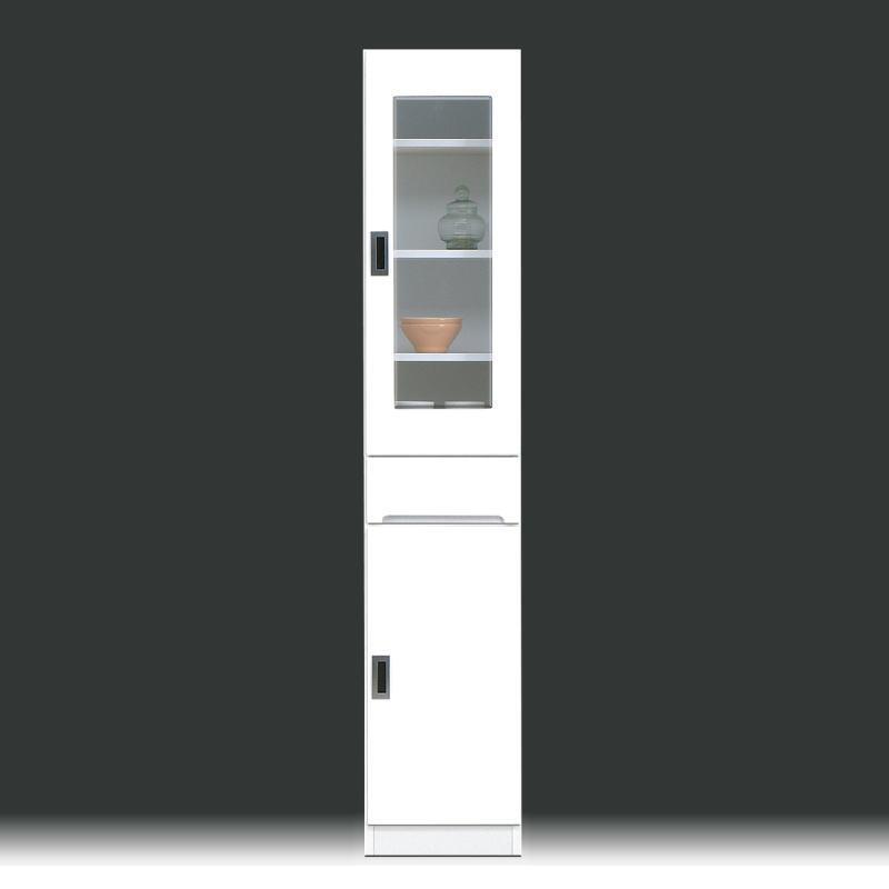 隙間収納 幅35cm 完成品 隙間家具 キッチン収納 鏡面 白 ホワイト 木製 国産 日本製 キッチンボード ダイニングボード モダン スリム