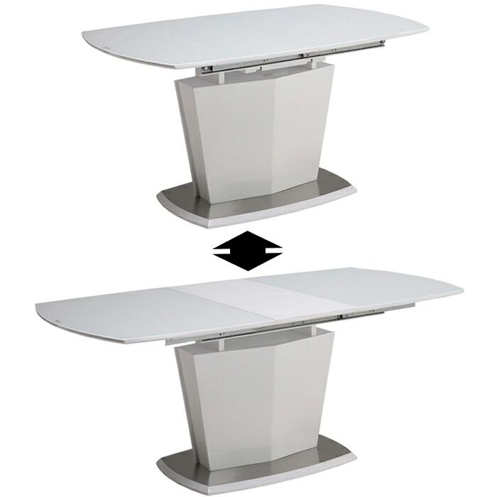 ダイニングテーブル 伸縮 食卓テーブル 伸長 幅140cm~180cm ホワイト 白 鏡面 光沢 単品 4人掛け モダン シンプル ダイニングテーブル単体