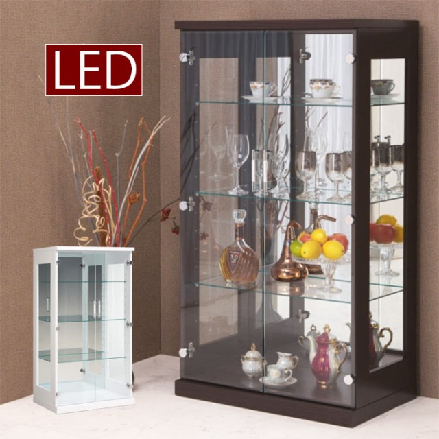 コレクションケース ショーケース 幅70cm LEDライト 照明 リビング収納 フィギュアラック 木製 ガラス扉 コレクションボード ホワイト ブラウン 白 茶 ミドルタイプ