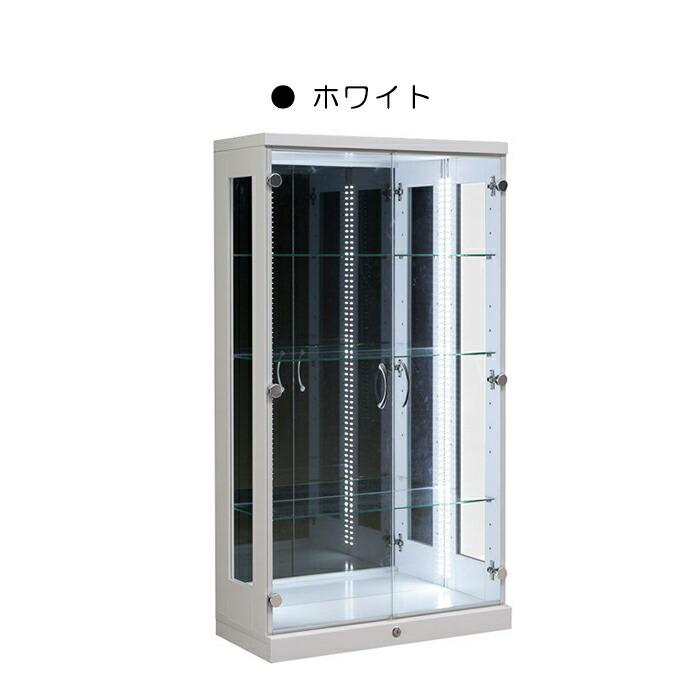 コレクションケース コレクションボード 幅70cm LEDライト 鍵付き 完成品 ガラス扉 木製 ディスプレイラック フィギュア リビング収納 ミドルタイプ