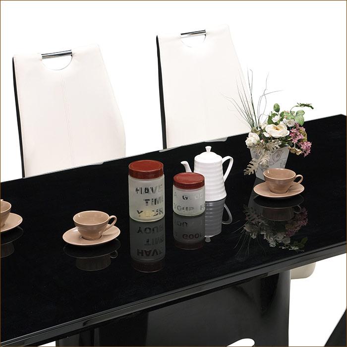 ガラスダイニングテーブルセット 6人掛け ダイニングセット 7点セット スモークガラス ソフトレザー モダン 6人用 鏡面 ブラック ホワイト 200テーブル ハイバック