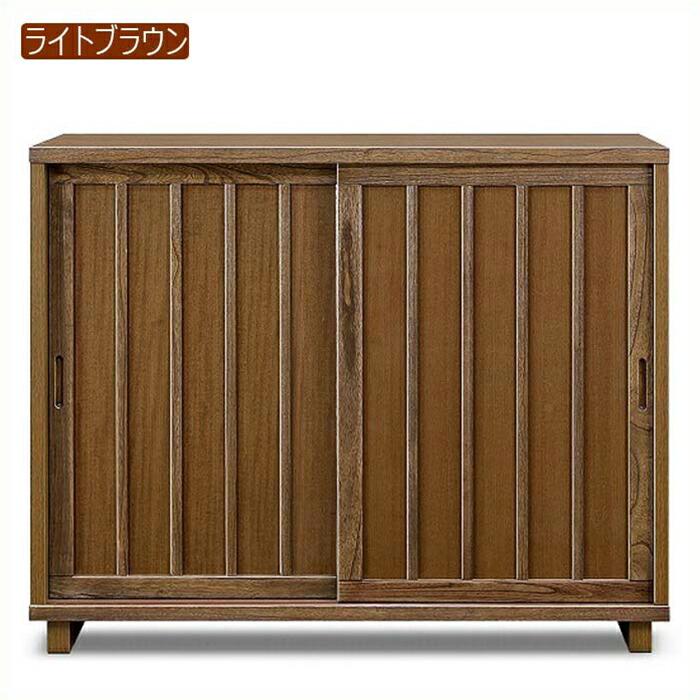 下駄箱 シューズボックス 完成品 和風 引き戸 幅120cm 桐無垢 天然木 玄関収納 靴箱 ロータイプ 脚付き スライド扉 木製 日本製