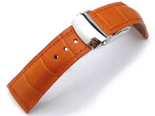 20mm TAIKONAUT 時計ベルト クロコグレーン オレンジ / オレンジステッチ OMEスタイルDバックル