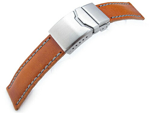 20mm MiLTAT 時計ベルト アニリンカーフ オレンジ / グレーステッチ フリップロッククラスプ