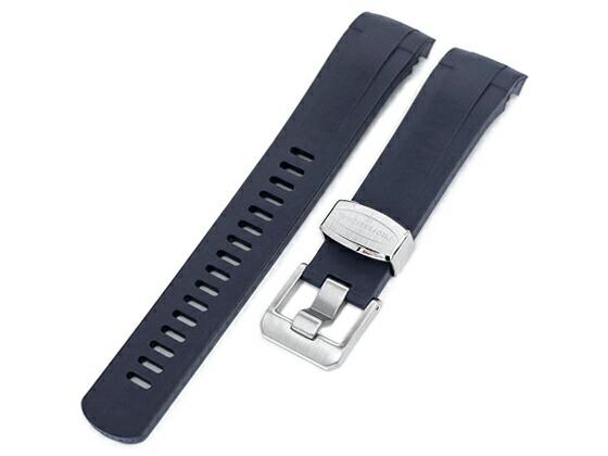 22mm Crafter Blue 時計ベルト NBRラバー ダークブルー カーブドエンド for TUDOR ブラックベイ