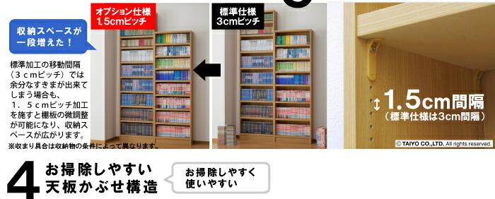 オプションで棚位置間隔を1.5cmに変更可能