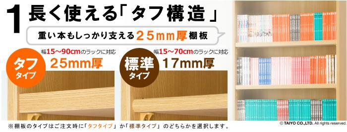 重い本もしっかり支える25mm厚棚板をお選びいただけます