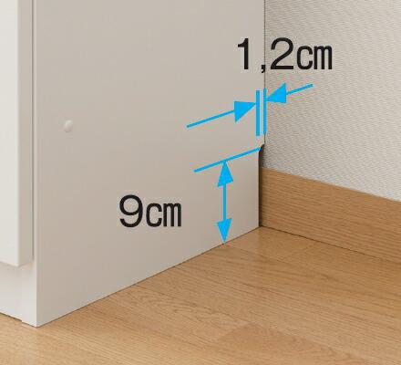 壁にぴったり設置。幅木カット