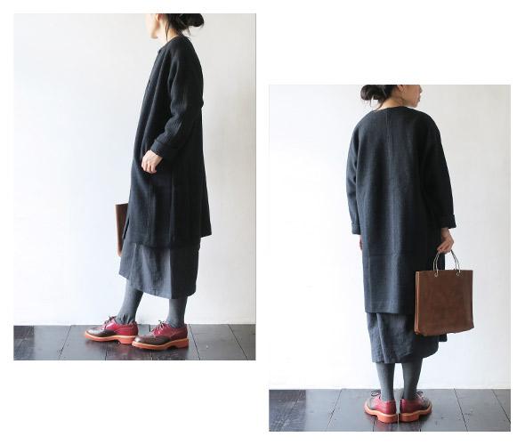 evam evaのコートのモデル着用画像