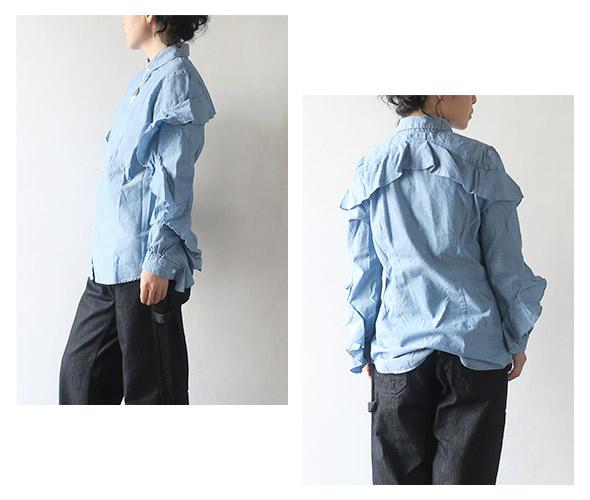 KAPITAL キャピタル シャンブレー フリルスリーブシャツ