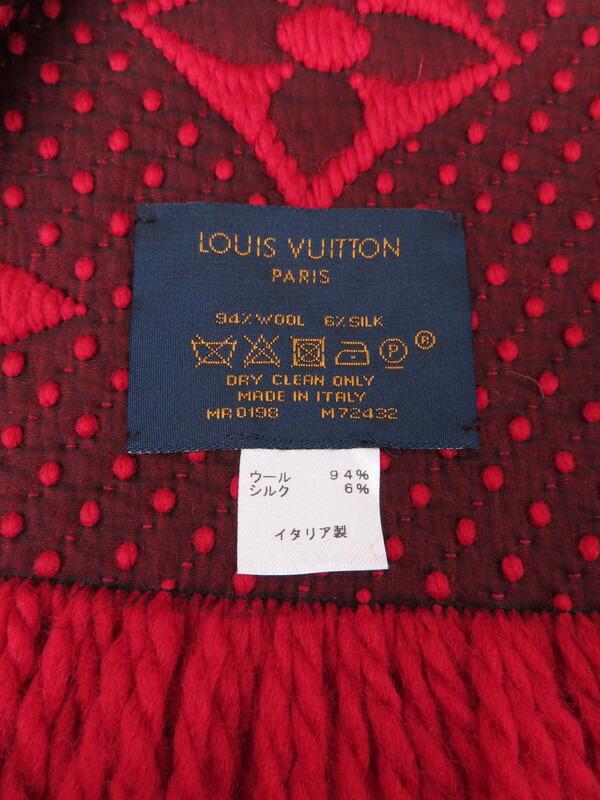 【LOUIS VUITTON】【ルビー】【イタリア製】ルイヴィトン『エシャルプ・ロゴマニア』M72432 レディース マフラー 1週間保証【中古】