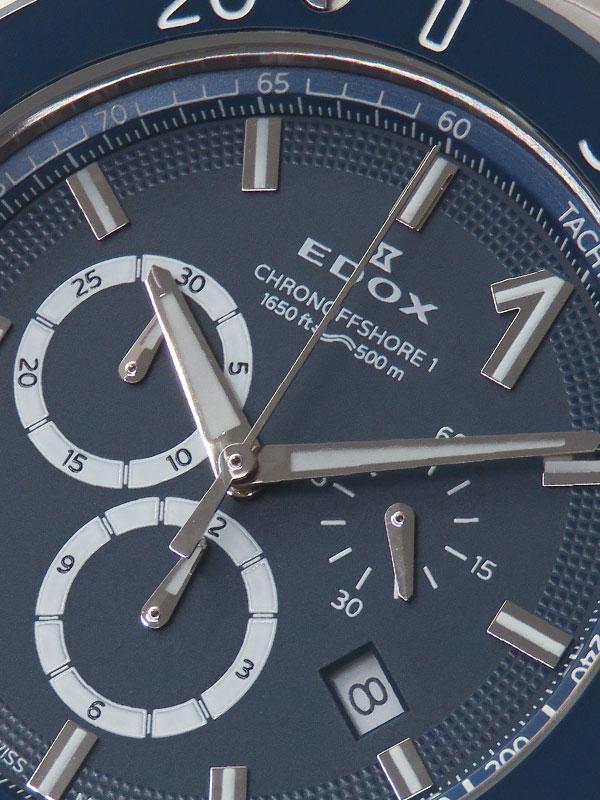 【EDOX】【'19年購入】【OH・電池交換済】エドックス『クロノオフショア1 クロノグラフ』10221-3BU3M-BUIN3 メンズ クォーツ 3ヶ月保証【中古】