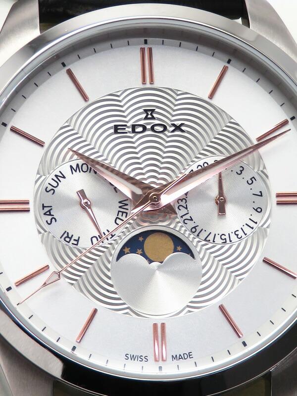 【EDOX】【OH・電池交換済】エドックス『レ・ヴォベール ムーンフェイズ』40008-3-AIR メンズ クォーツ 1週間保証【中古】