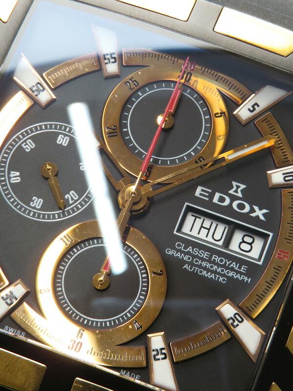 【EDOX】【裏スケ】【OH済】エドックス『クラスロイヤル クロノグラフ』01105-357RN-NIR メンズ 自動巻き 1週間保証【中古】