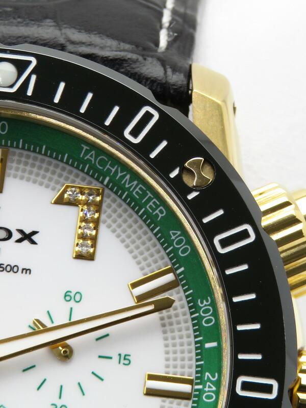 【EDOX】エドックス『クロノオフショア1 クロノグラフ バイアピーク シートゥスカイ リミテッドエディション ダイヤ』10221-37JV5-BIDV8 1ヶ月保証【中古】