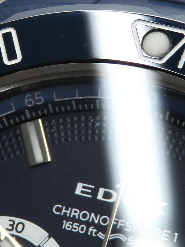 【EDOX】【電池交換済】エドックス『クロノオフショア1 クロノグラフ』10221-3BU3-BUIN3 メンズ クォーツ 1ヶ月保証【中古】