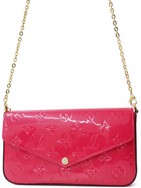 a27cf45a8b6d 【LOUIS VUITTON】【チェーンウォレット】【イニシャル入り】ルイヴィトン『モノグラム ヴェルニ ポシェット フェリーチェ』M61787  2WAYバッグ【中古】