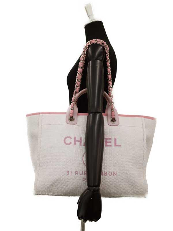 【CHANEL】【シルバー金具】シャネル『ドーヴィル 2WAYチェーントートバッグ』A66941 レディース 2WAYバッグ 1週間保証【中古】