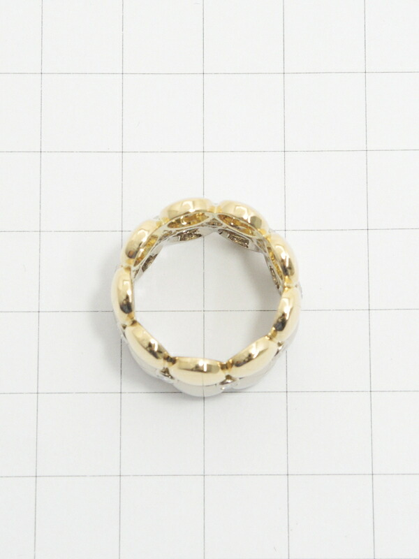 【Cartier】【HONEY MOON】【メーカー仕上済】カルティエ『K18YG/K18WG ハニームーン 2ロウ リング ダイヤモンド』11号 1週間保証【中古】