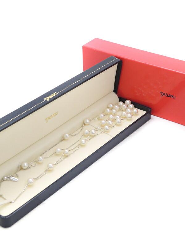 【TASAKI】タサキ『K18WG パ—ル6.9〜7.3mm ダイヤモンド0.11ct 2連風 ネックレス』1週間保証【中古】