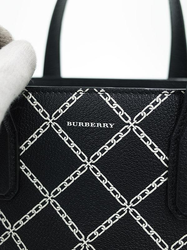 【BURBERRY】バーバリー『クロスチェーン柄 ミディアム バナーバッグ』レディース 2WAYバッグ 1週間保証【中古】