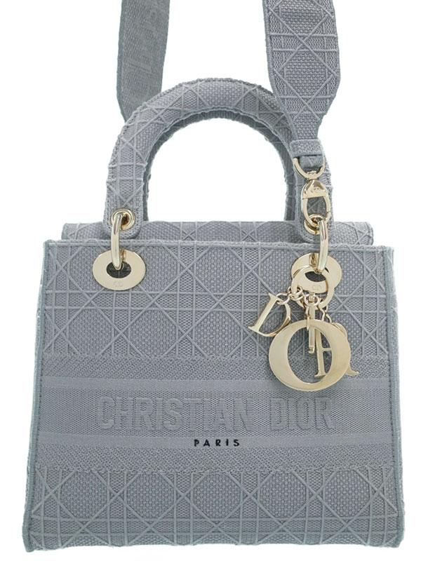 【Christian Dior】【LADY D-LITE】【カナージュ】クリスチャンディオール『レディ ディ ライト ミディアム 2WAYハンドバッグ』M0565OREY 1週間保証【中古】