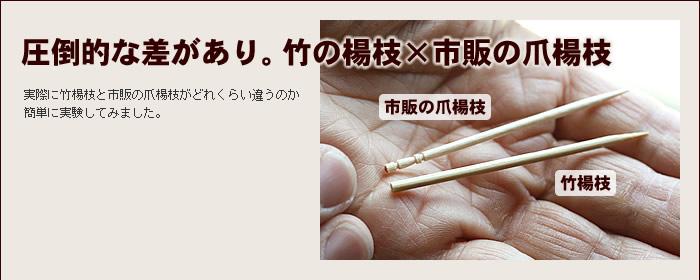 圧倒的な差があり。 竹の楊枝×市販の爪楊枝