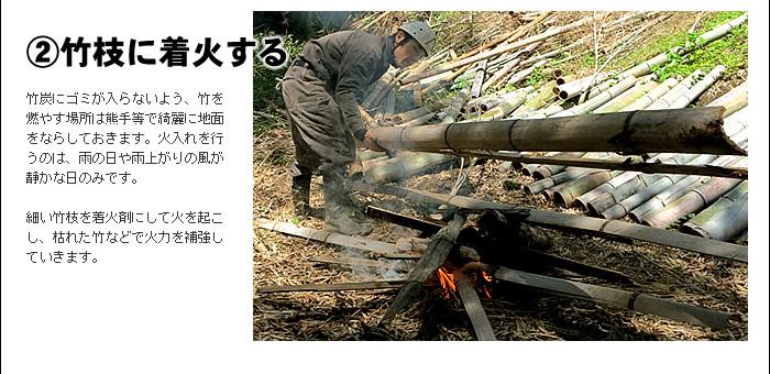 �竹枝に着火する