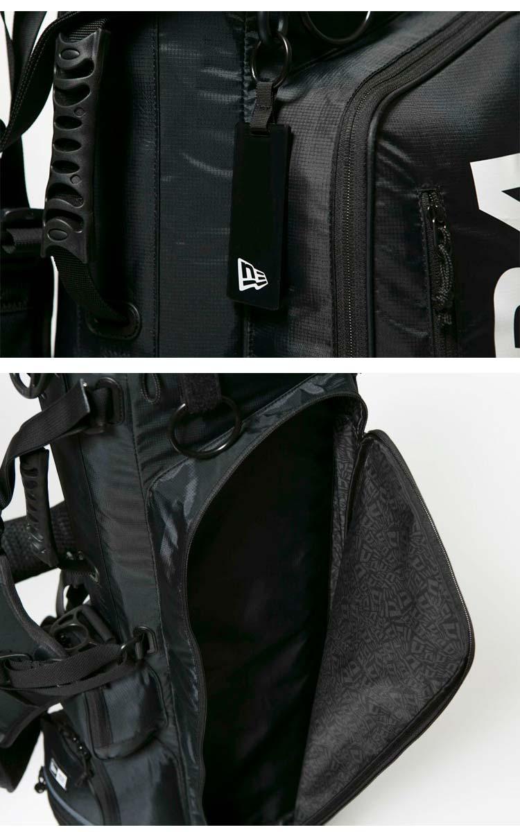 NEW ERA ニューエラ ゴルフ キャディーバッグ スタンド式 ブラック ホワイトプリントロゴ ベーシックポーチ付き