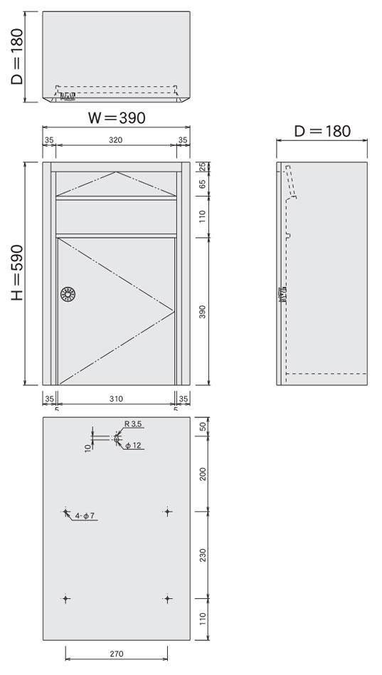 大型ステンレスポスト(大容量郵便受け箱)687ダイヤル鍵付きサイズ