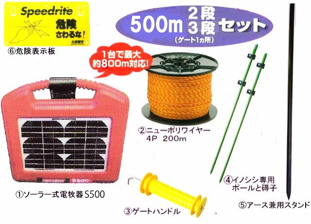 電牧器ソーラー式 S500型は一台で約800M対応。ニューポリワイヤー4P200M、ゲートハンドル、猪専用ポールと碍子。アース兼用スタンド