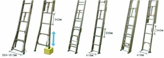 2連伸縮脚・DPE型、2連固定脚・DBP型、3連固定脚・TBP型の紹介。