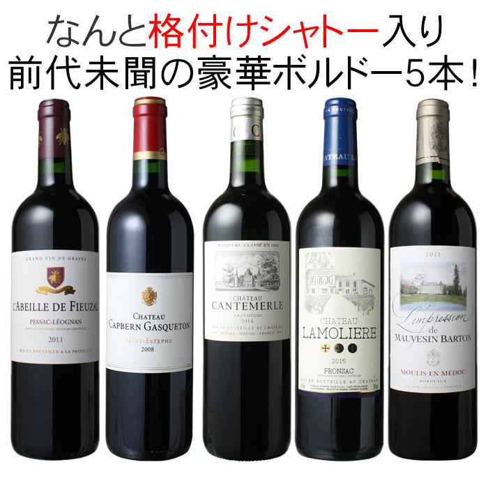 ワインセット メドック 格付けシャトー入り ボルドー ワイン 5本 セット 赤ワイン パーティー 家飲み 御祝 誕生日 ハロウィン ギフト 前代未聞