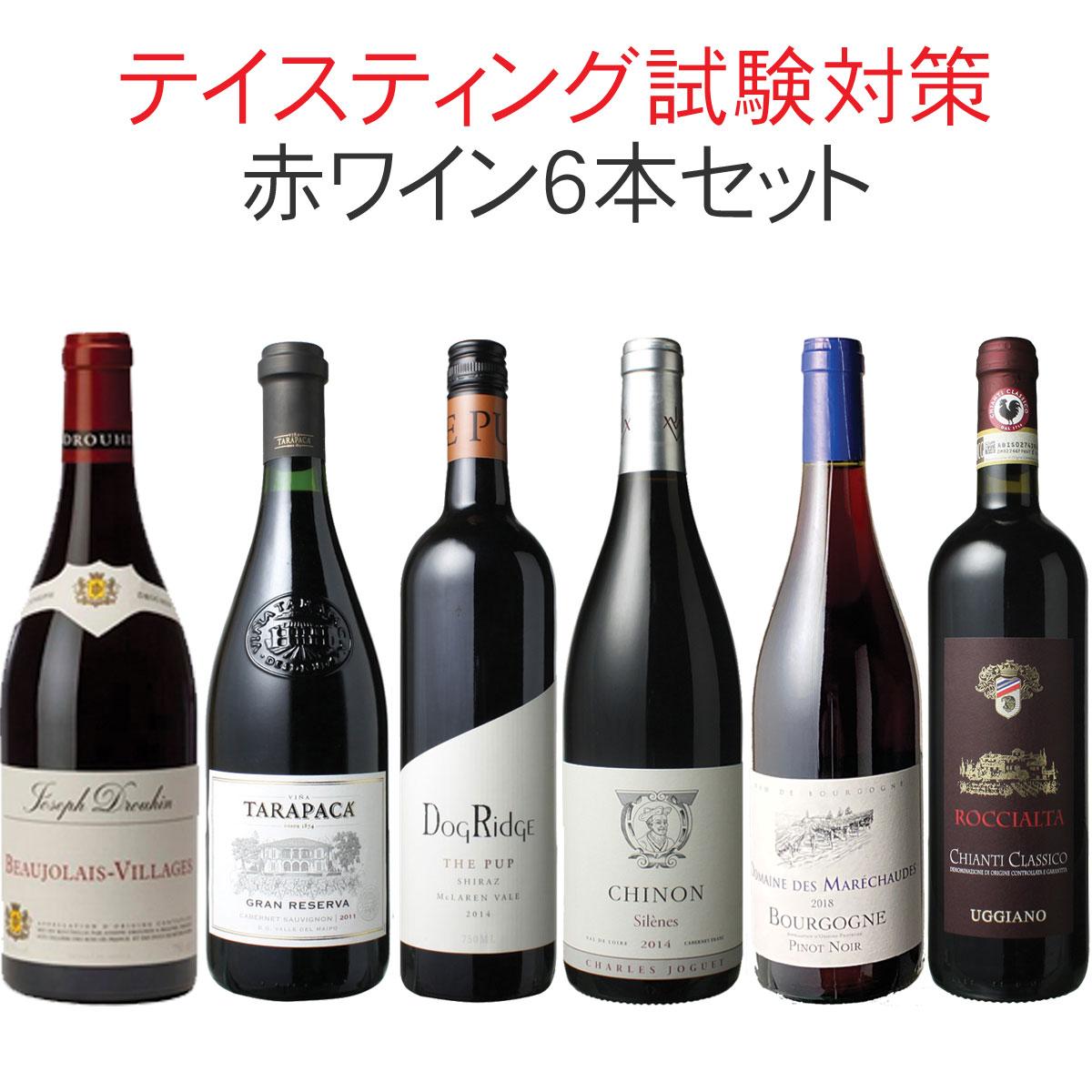 ワインセット ソムリエ&ワインエキスパート試験対策にもなる! 品種別 飲み比べ  6本 セット 赤ワイン テイスティング 二次試験対策