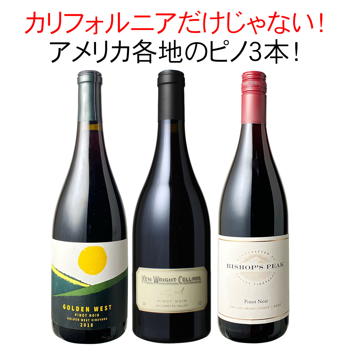 ワインセット カリフォルニア ピノ・ノワール 3本 セット 赤ワイン 家飲み 御祝 誕生日 ハロウィン ギフト プレゼント カリピノ満喫